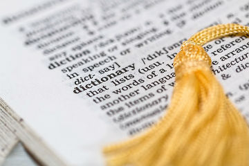 Poop Synonyms - Page of Dictionary with Gold Braid Page Holder
