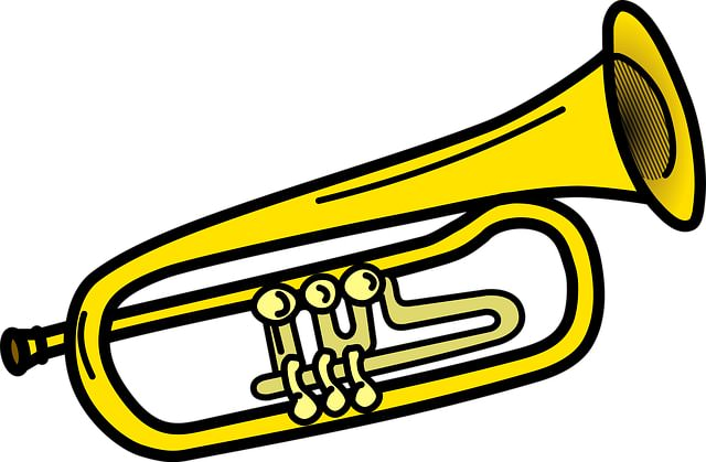 Cartoon of a trumpet.