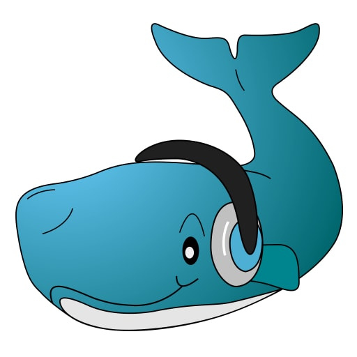 Cartoon of a whale with headphones.