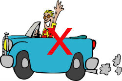 Man Driving Cartoon Car With Red Cross to Indicate No Driving After Colonoscopy