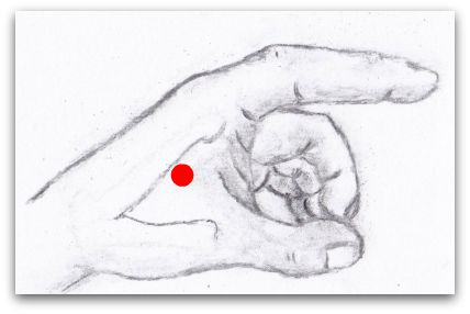 Diagram of Left Hand with Large Intestine 4 Acupressure Point