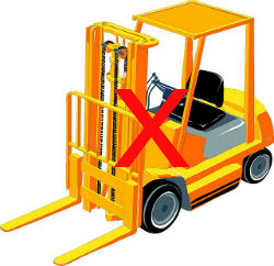 Cartoon Fork Lift Truck With Red Cross To Indicate No Use of Heavy Machinery Post Colonoscopy