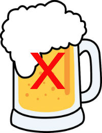 Cartoon Beer with Cross to Show Alcohol Should Not be Consumed Straight After a Colonoscopy