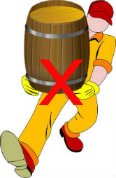 Man Carrying Barrel With Red Cross to Indicate No Lifting After Colonoscopy.