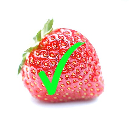 Strawberry with Green Tick