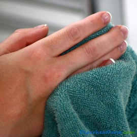Hand Washing - Drying Hands On a Towel